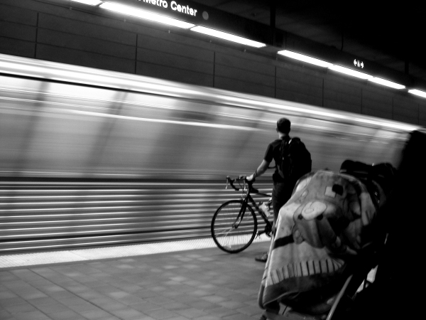 Biker at 7th/Metro Red Line station.