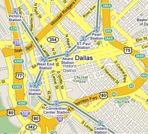 Google Transit Map of Dallas