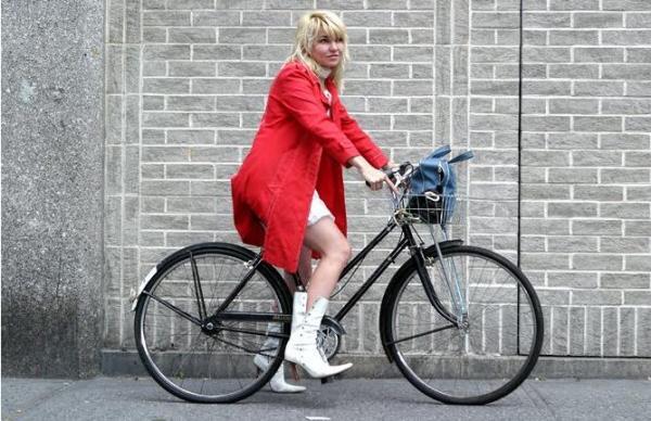 hipster girl on bike